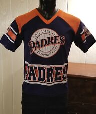VTG MLB San Diego Padres Baseball Club Blue Orange Print Jersey Style Top YOUTH
