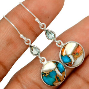 Spiny Oyster & Arizona Turquoise & Blue Topaz 925 Silver Earring Jewelry BE60152