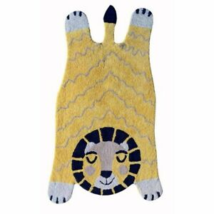 Myrtle Gold Lion Fantasy Fun Cotton Shaped Kids Floor Rug - 70x120cm