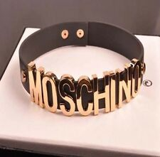 CHOKER NECKLACE Collar Fashion Jewellery Black Gold Statement Letters Moschino