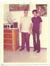 Vintage 70s PHOTO Pair Young Men Guys Posing In Apartment