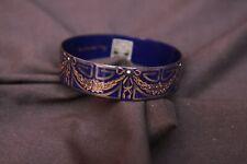 Vintage Handmade Michaela Frey 20mm Dark Blue Art Deco Bangle Bracelet Jewelry