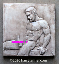 """Shane""  Male Nude Sculpture / Art Tile by Harry Tanner homoerotic"