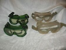 4 vintage school rubber safety  goggles motorcycles work shop 2 green 2 clear