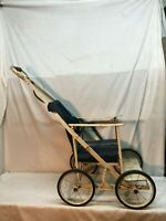 Vintage Doll Chair Stroller buggy wheels Folding Doll Furniture Collectible Doll