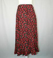Christopher & Banks Black Red Green Floral Print Long Skirt - Size 4