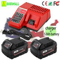Battery Charger For Milwaukee 14.4V-18V + 2X For M18 18V Lithium Battery 5.0Ah