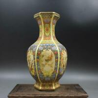 Chinese ancient antique hand make colour enamel Flower and bird Six square vase