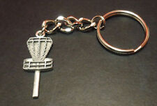 "New-Disc Golf Basket  Pendant Key Chain 1.5"".  Satin Finish Pewter"