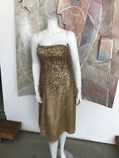 Scala Gold Sequined Metallic Prom Strapless Kneelength Cocktail Party Dress XS