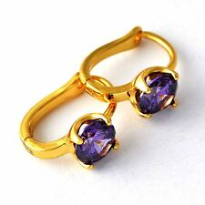 BEAUTIFUL 9K GOLD GF LADIES PURPLE AMETHYST SAPPHIRE HUGGIE HOOP EARRINGS MENS