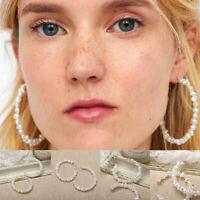 Fashion Circle Pearl Hoop Statement Geometric Dangle Drop Earrings Women Jewelry