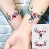 1PC Cute Deer Head Temporary Tattoos Body Arm Leg Waterproof Tattoo Stickers QP