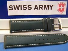 Swiss Army Watch Band Infantry Forest Green Thick Cotton Stitched Leather. 22mm