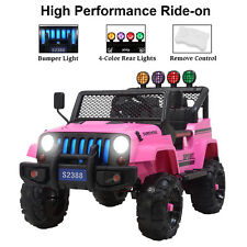 87cf8332 12v Kids Ride on Toy Car Jeep Wrangler Electric Battery W/ Remote Control  Pink