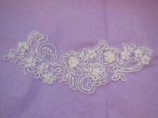 A White bridal beaded lace Applique/ wedding shoes floral lace motif.By piece