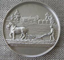 Vintage Sterling Silver Champion Horse Ploughing Watch Fob Award Medal 1927