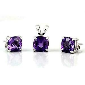 6 ct. Amethyst Cushion Cut Pendant & Earrings in Solid Sterling Silver