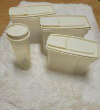 Vintage Rubbermaid Servin' Saver 4 Set Cereal Keeper Pasta Storage Almond Lids