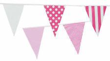 Pink White Bunting 10m 20 Flag Mix Polka Dot Stripe Check Garden Outdoor Flags