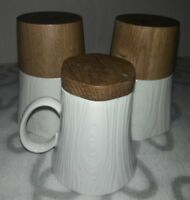Wood and Ceramic Mug - Cup Set of 3