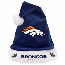 Denver Broncos Team Logo Holiday Plush Santa Hat NEW! Christmas Solid Blue