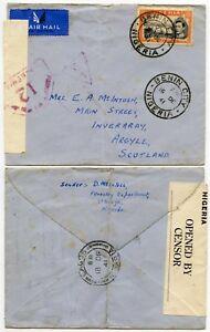 BENIN LAGOS NY SCOTLAND WW2 AIRMAIL ATLANTIC CLIPPER NIGERIA L2 CENSOR 5/- 1941