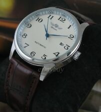 Classic Men's Mechanical Automatic Date Leather Band Stainless Steel Wrist Watch