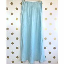 Bryn Walker Skirt Sz XS Baby Blue 100% Linen Maxi Light Slimming Tall NWOT Flare