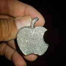 Men Women 14K White Gold Finish Pave Diamond Apple Phone Logo Pendant Charm