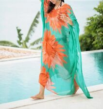 Long green Sheer Polynesian Beach Kaftan Dress Size 18-20-22-24