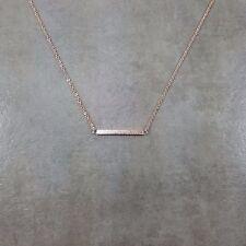 Dainty Rose Gold Shiny Straight Bar Necklace Charm Stylish Pendant Gift Women