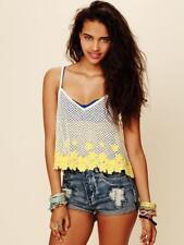 FREE PEOPLE Daisy Sunflower Crochet Summer Festival Boho Crop Cami Tank Top M
