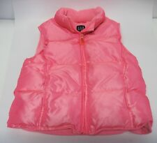 Gap Kids Girls Quilted Puffy Vest Hot Pink Sz M Fleece Lined Down Fill