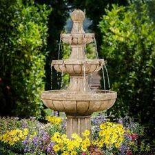 "Garden Water Fountain Patio Outdoor Classic Decor 3 Tier 45"" Fiberglass Feature"