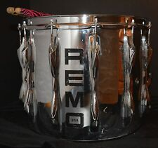 """VTG Quadura Snare Drum by REMO Chrome 14"""" x 12"""" WORKS but AS IS"""