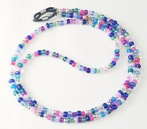 Beaded Eyeglass/Sunglass Chain/Holder~Jewel Tones & Silver~28 Inch