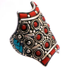 Turquoise Coral Ring Silver Plated Gypsy Tribal Size 8.5 Tibetan Nepal RG01b