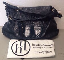 Genuine Hayden-Harnett HAVANA Large Hobo Indigo Crinkle Patent Leather Bag