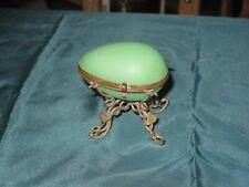 Antique Jade Opaline Palais Royal Egg trinket box Ormolu stand