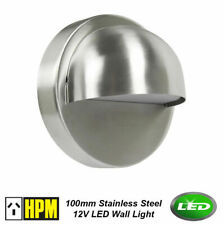4 X LED Stainless Steel 100mm Round Outdoor Step Wall Light Silver 12V 1W DIY