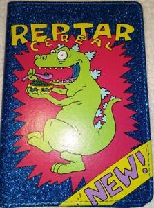 Reptar Cereal Rugrats Passport Holder Wallet Blue Glitter Nickelodeon
