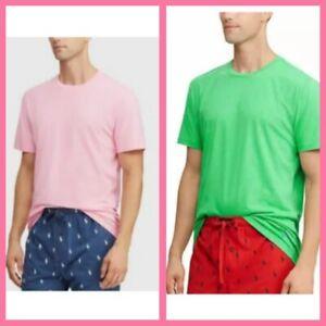 Polo Ralph Lauren Men's Sleep Sleepwear T-Shirt Crew Neck Cotton Pink Green NWT