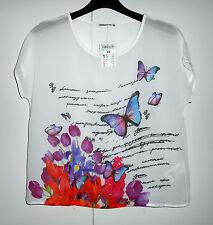 Maglia blouse top T-shirt donna tg M blusa georgette farfalle Terranova nuova