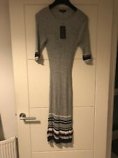BNWT New Look Grey Speckle 1/2 Sleeve Stripe Detail Midi Dress Sz 12