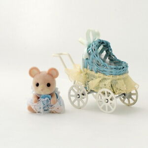 Sylvanian Families ONE OF THE MOUSE TWINS W/ STROLLER Calico Critters Japan