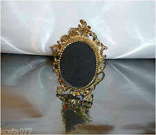 Vintage Ornate Standing Miniature Picture Frame, Gold Toned Brass