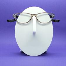 Reading Glasses Rounded Cat Eye Crazy Kitty Bling Sparkle Smoky Gray Frame +1.50