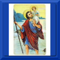 CATHOLIC Holy Prayer Card St Saint Christopher Patron Protection Laminated NEW!