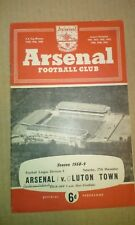 ARSENAL VS LUTON TOWN FOOTBALL PROGRAMME 1958 DECEMBER DIVISION 1 PART FLOODLIT